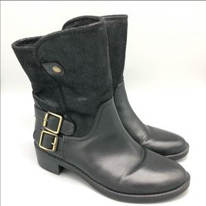 Naturalizer comfortable black fold over booties